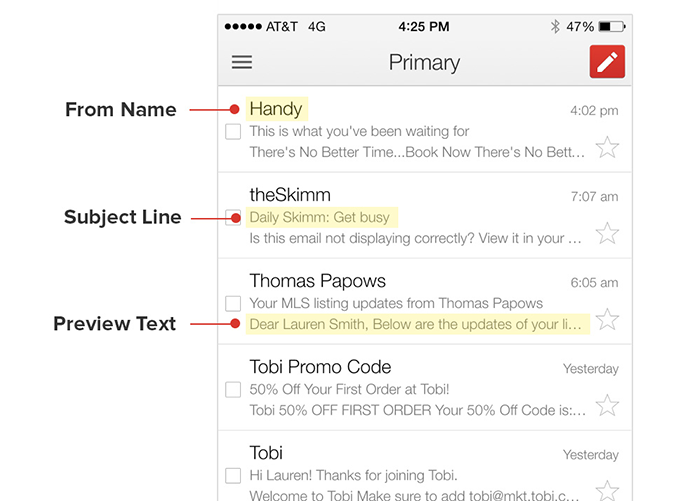 email marketing subject line and preview text layout